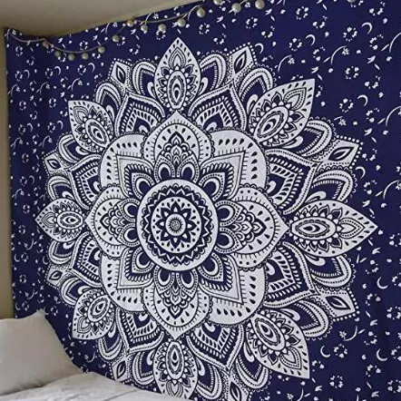 Ombre Wall Hanging Indian Mandala Tapestry Throw Poster Silver Tapestry Throw