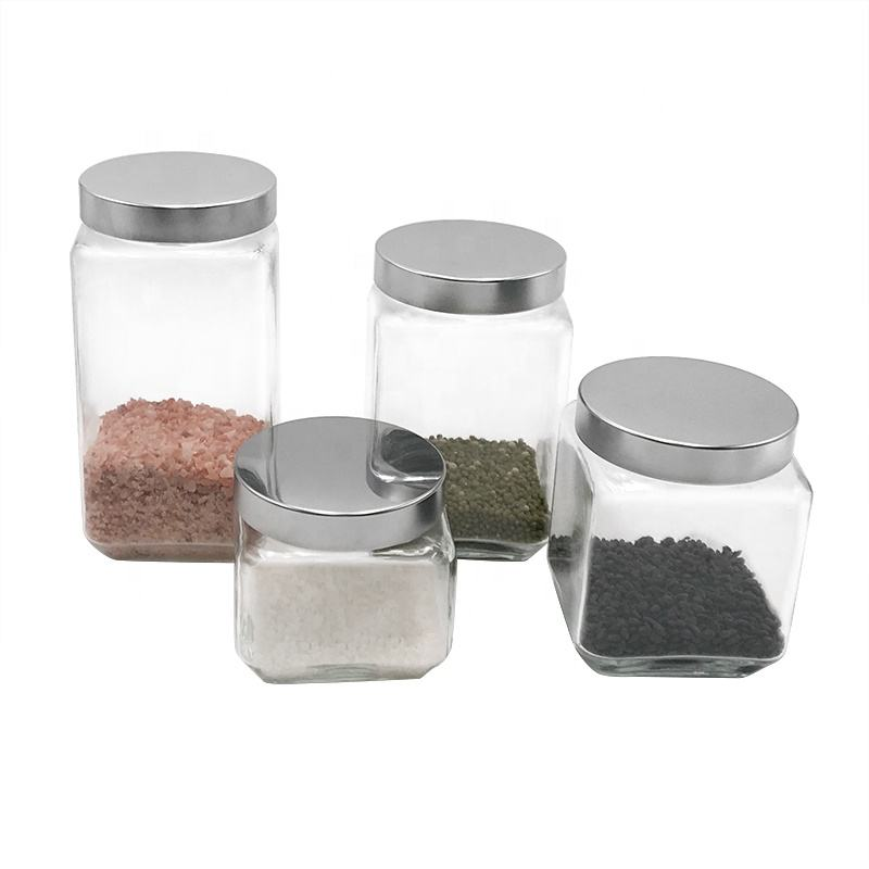 square shape storage empty glass jar for food with metal screw