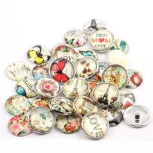 50pcs mixing Color 18mm Snap Button Glass Snap Charms For 20mm DIY Interchangeable Ginger Snap Jewelry