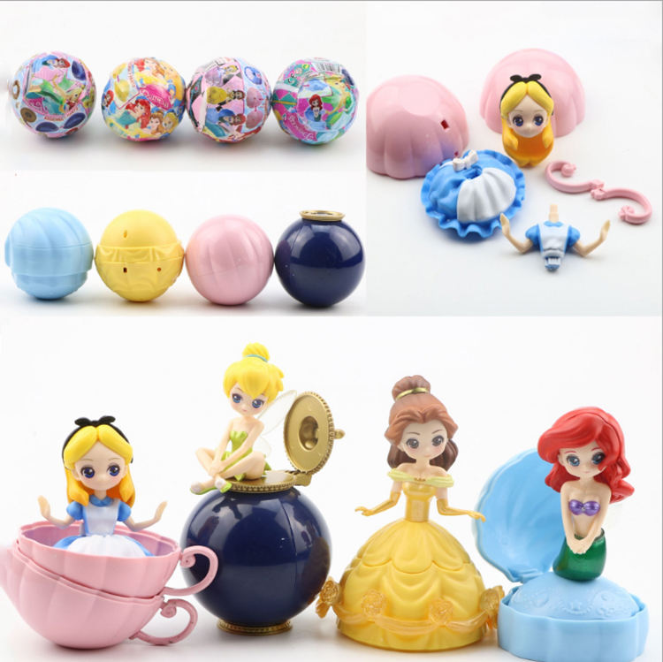 4pcs/set mini princess figures collectible anime girl princess figure pvc figure gashapon capsule toys cake topper