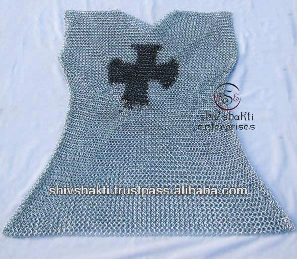 Aluminum Chainmail Cross Keychain Knights Templar Medieval Renaissance Costume