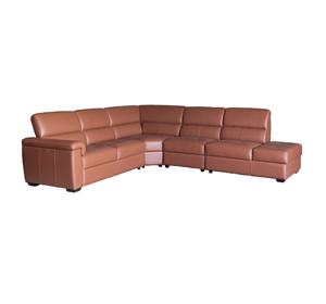 New design brown leather 6 seater l shape sectional sofa set