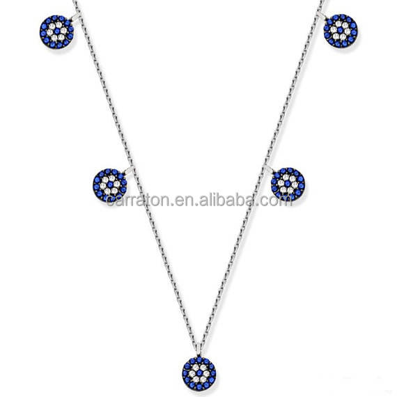 Hot sale turki perhiasan 925 sterling silver micro pave evil eye charm kalung