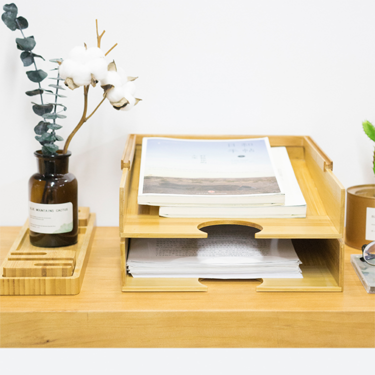 Refined-Bam New Arrival Bamboo File Tray
