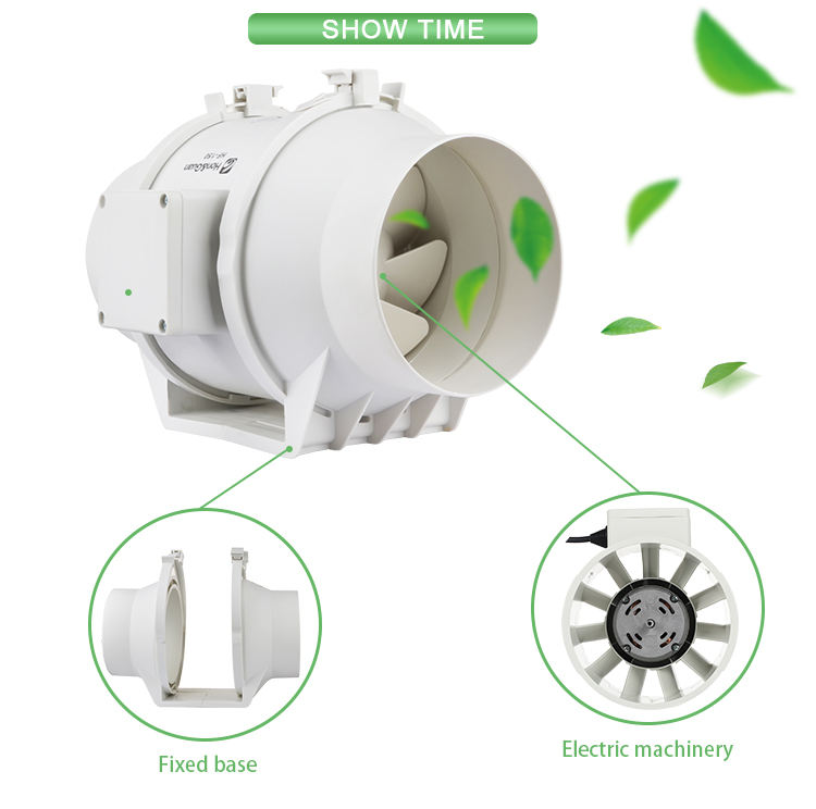 4 6 8 inch greenhouse mixed flow ventilation reversible 1000cfm exhaust dc high temperature inline duct fan