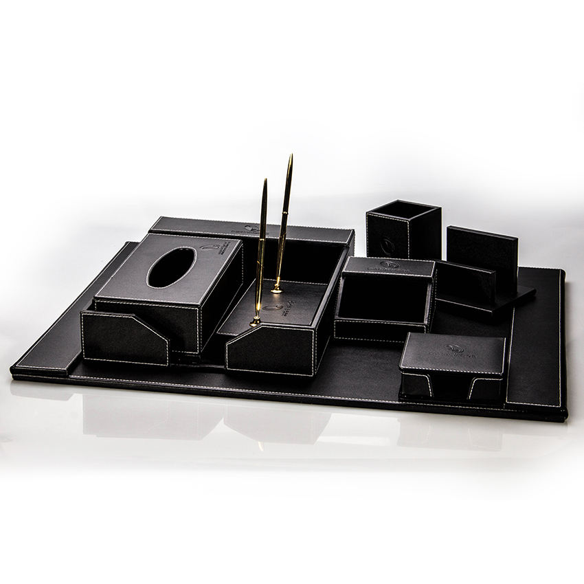 7-Piece Black Synthetic Leather Office Desk Set Accessories
