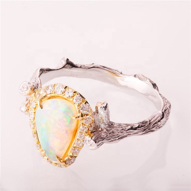 Beautiful Tree Branch Ring High Quality Romantic Colorful CZ Big Opal Jewelry for Women Unique Wedding Bands Finger Rings