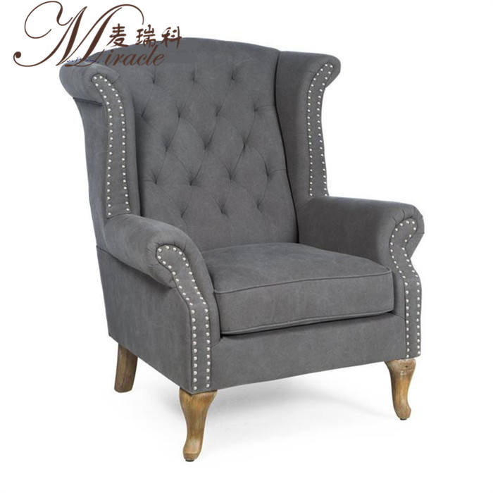 American decor style home used living room furniture high back wing armchair
