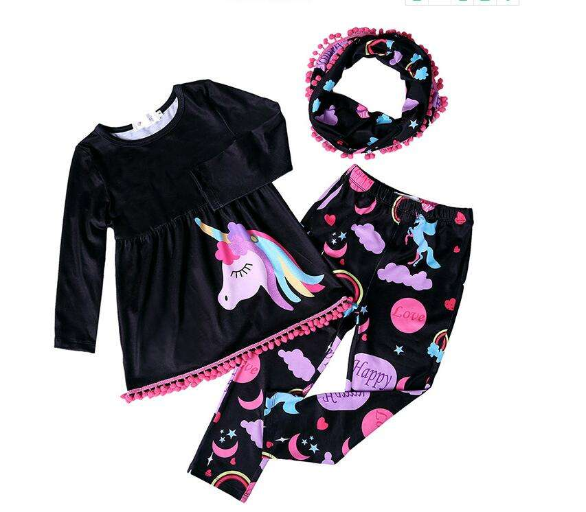 Yawoo fashion baby girls kids unicorn design 3 pieces tunic with leggings outfits wholesale children clothes sets