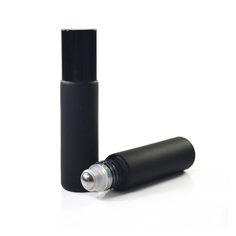 Frosted matte black 4ml 6ml 8ml 10ml perfume essential oil glass roll on bottle with aluminum cap and steel roller ball