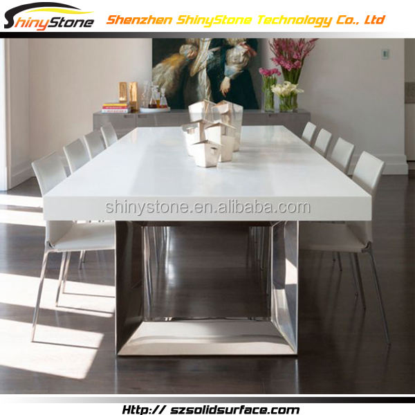 Big family gloss polished surface solid surface italian marble dining table