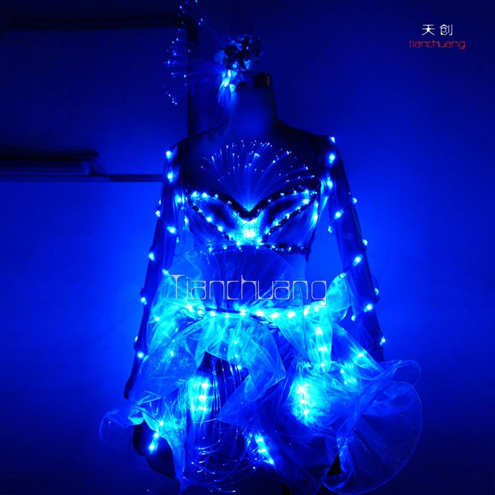 Remote controlled flash fiber optic dress,India costume belly dance,belly dance costume professional