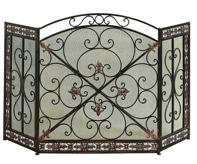Contemporary Artistic Scrollwork Metal Fireplace Screen