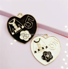 DIY Wholesale Enamel Heart Flower and 5 Charm Phone Charm 456
