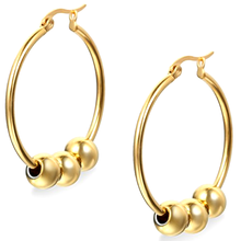 Fashion Surgical Steel Hoop Earrings With Gold Ball
