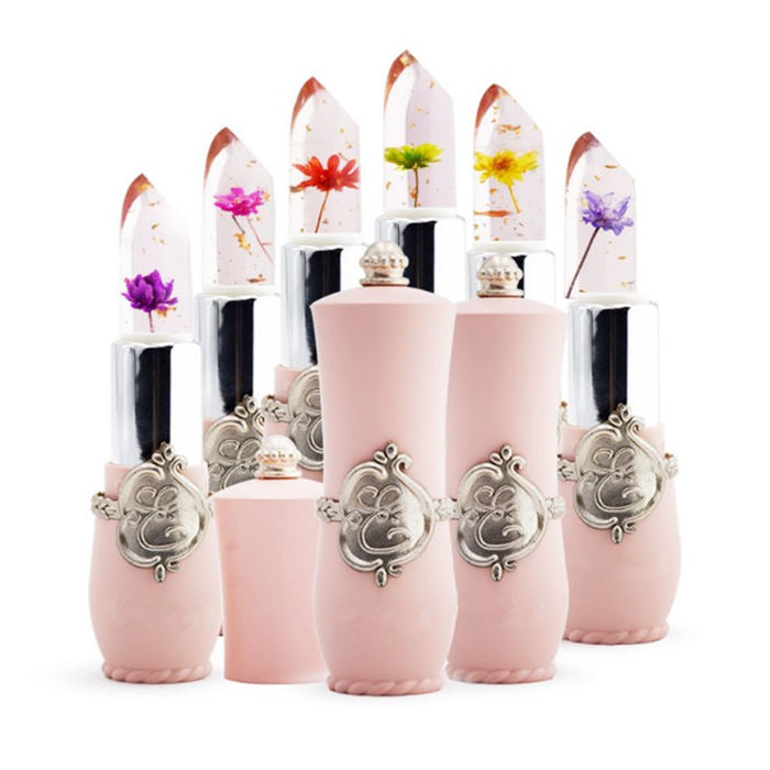 Wholesale clear jelly lipstick with flower inside transparent color change lip stick cosmetic makeup