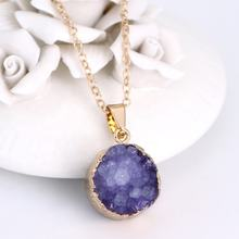 Crystal Stone Amethyst Necklace Natural Stone Pendant Necklace With Golden Chain