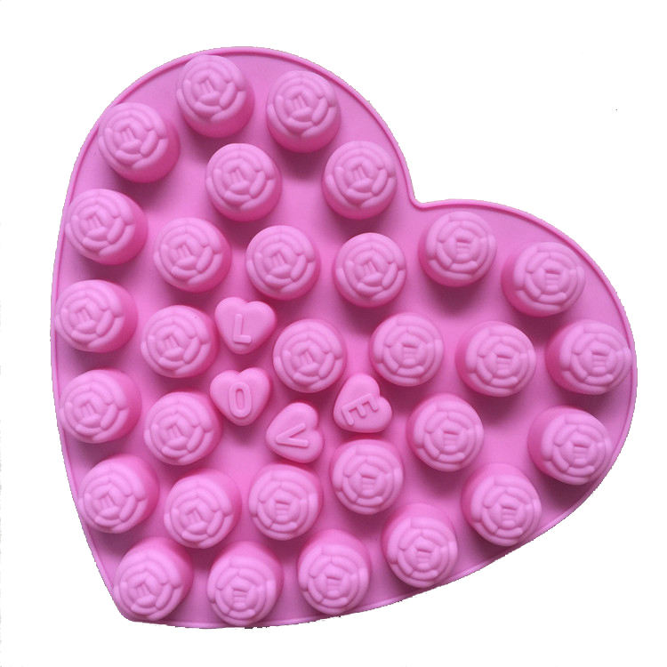 34 holes love heart letter rose flower silicone molds for cake decoration