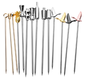 100% Food Grade eco-friendly Stainless Steel Creative Cocktail Decoration Fruit Stick Martini Picks Reusable Olive Picks