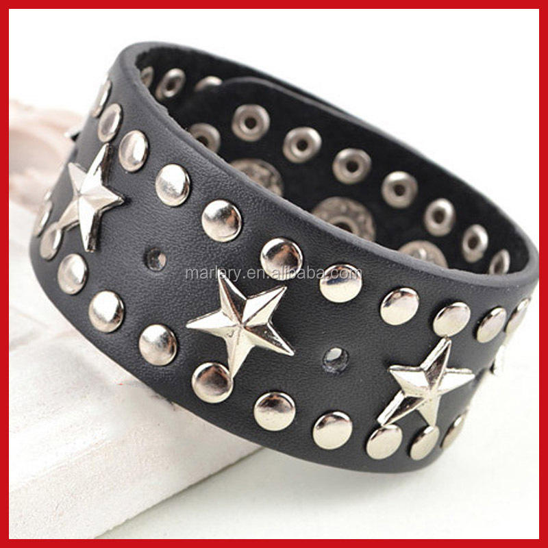 Wholesale Men Wide Braided Band Press Stud jewelry leather cuff bracelet