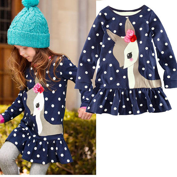 Best Selling Children Winter Dress Girls Long Sleeve Dress With Polka Dots