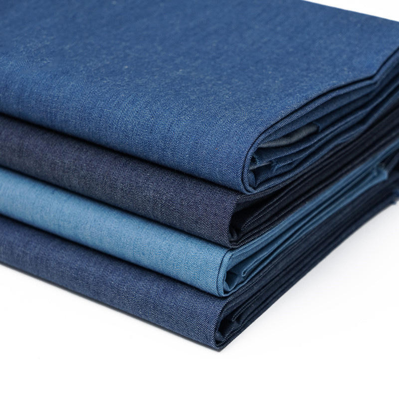 Woven 100% cotton pure denim fabric for fashion jeans dress stock lot