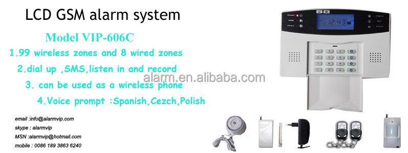 Электронные 99 зоны системы LCD gsm беспроводной дверной сигнализации VIP-606C, Главная используется охранной сигнализации