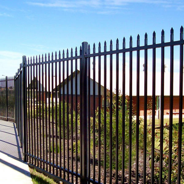 Black Powder Painting Two Rails Galvanized Tubular Steel Fencing With Spear Tops/Guangzhou Manufacture