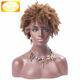 Cheap Price 150 Density Mongolian Kinky Curly Hair Wig Light Brown Short Afro Kinky Human Hair Lace Front Wig