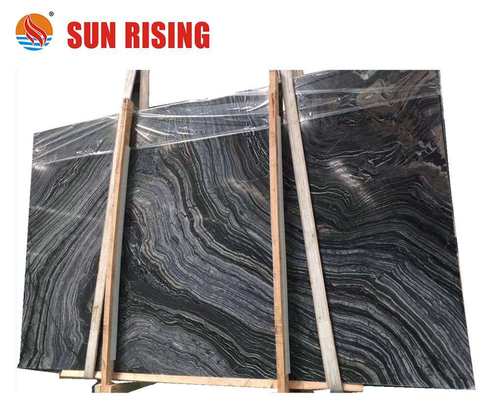 Popular Black Wooden Marble Slab Polished Black Forest Marble For Wall Tile