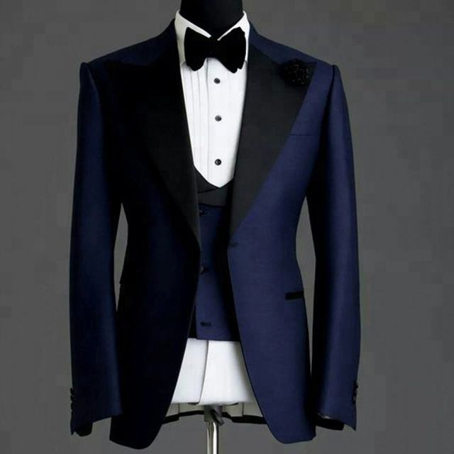 HD114 Navy Blue Wedding Man Suits for Groom Tuxedos Black Peaked Lapel Three Piece Jacket Pants Vest Formal Style Blazer