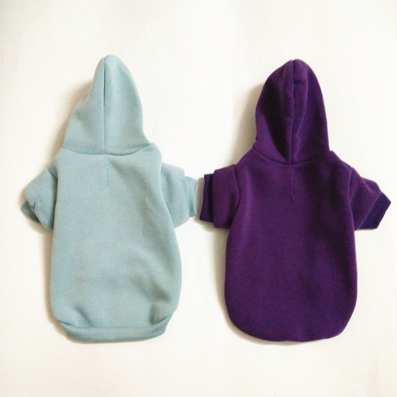 Top quality hot sale pure color pet dog hoodies blank clothes with hat for small and large dogs