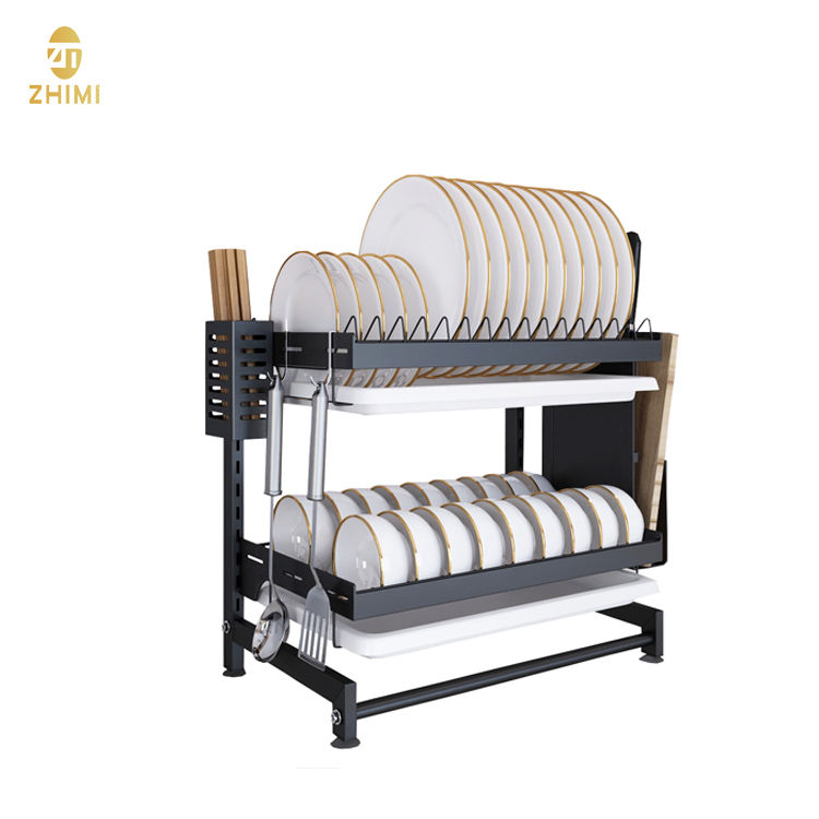 201Stainless Steel 2-tier Kitchen Organizer Plates Drying Rack Shelf Holder Dish Drainer Storage