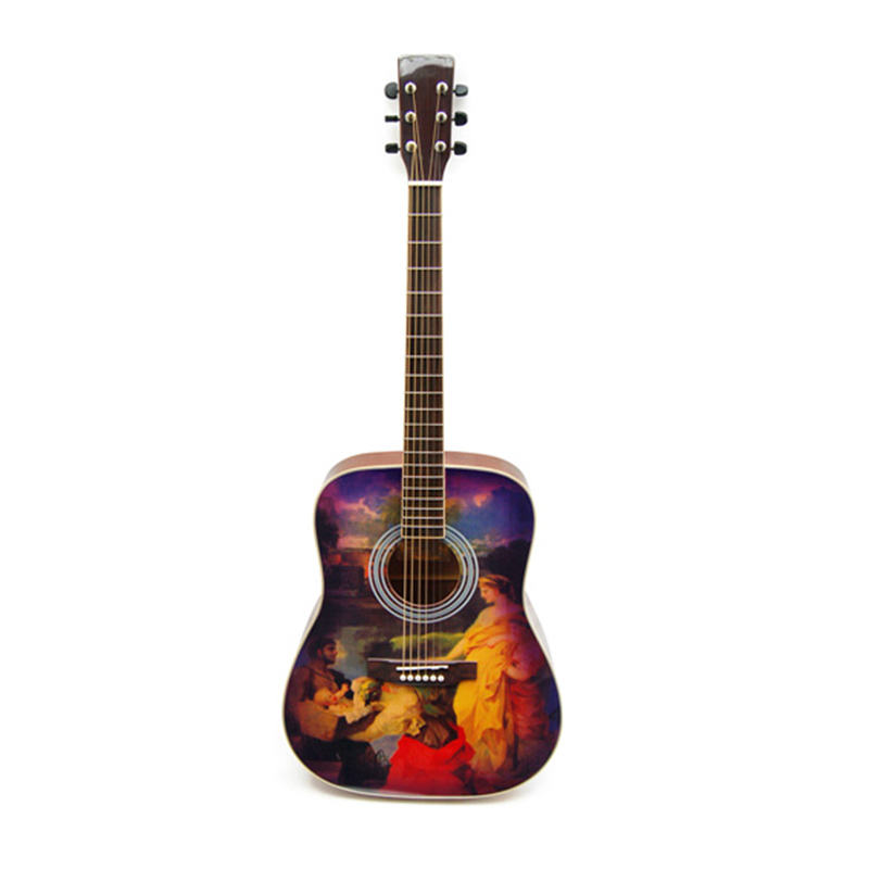 Kinglos cheap price visual artistic classic handmade for sale acoustic lefty guitar