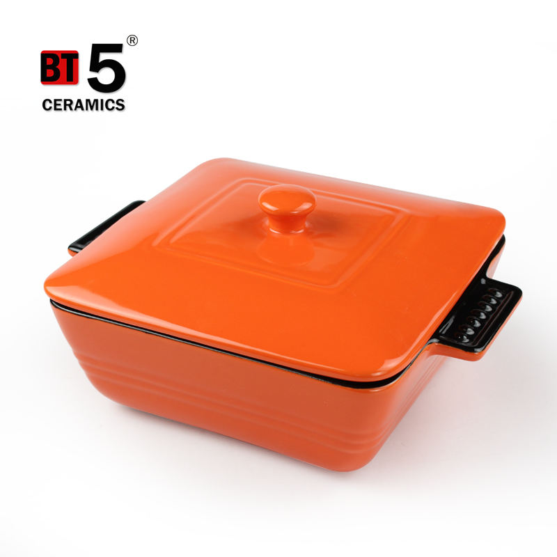 Casserole Microwave Oven Safe Ceramic Casserole Serving Dish Ceramic Square Shape Cooking Pot With Handles