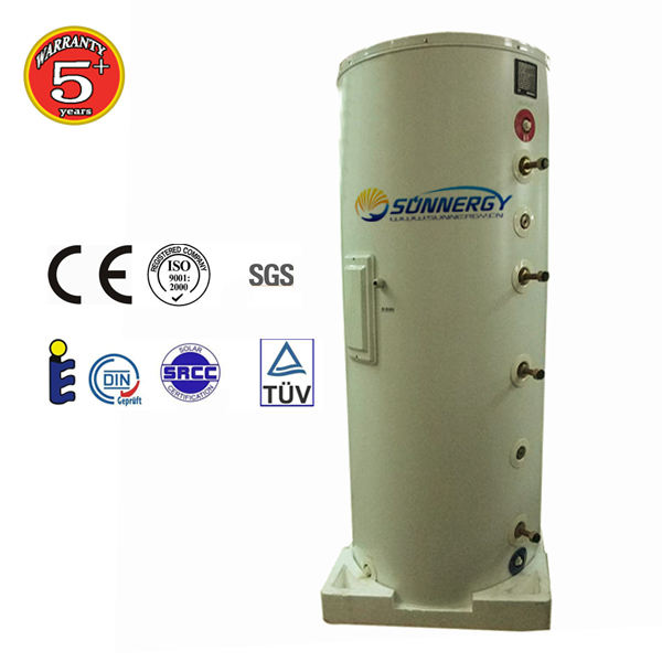 pressurized and unpressurized high quality stainless steel solar water tank with copper or steel coils/
