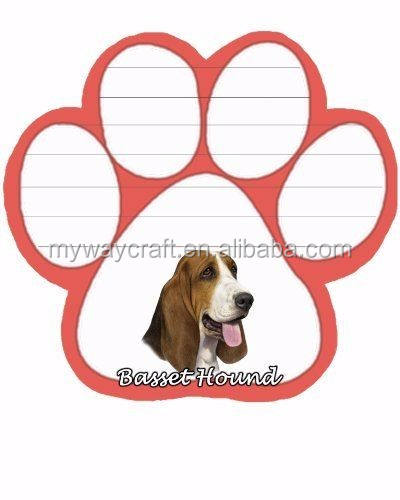 BASSET HOUND  DOG DIECUT LIST PAD NOTES NOTEPAD Magnetic Magnet Refrigerator