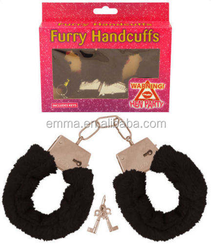 Black Fluffy Handcuffs Sexy Toys Hen Stag Party Valentines Fancy Dress Costume SA561