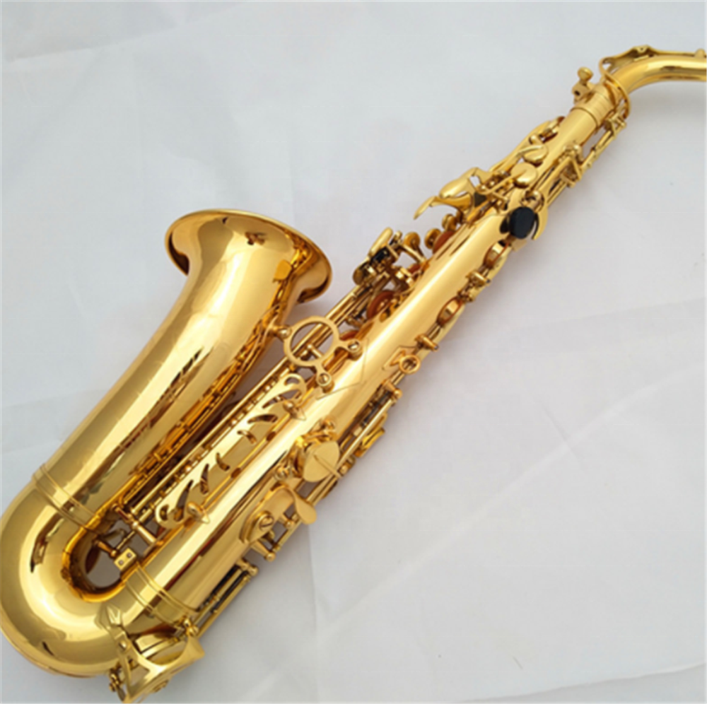 Alto Eb tone saxophone lacquer gold saxophone for playing beginner performance music Instrument wholesale
