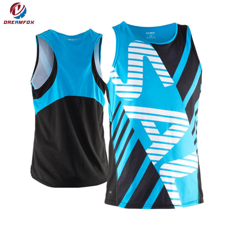 breathable custom cheap sublimated wholesale running singlet designs tank top sports mens gym singlet design