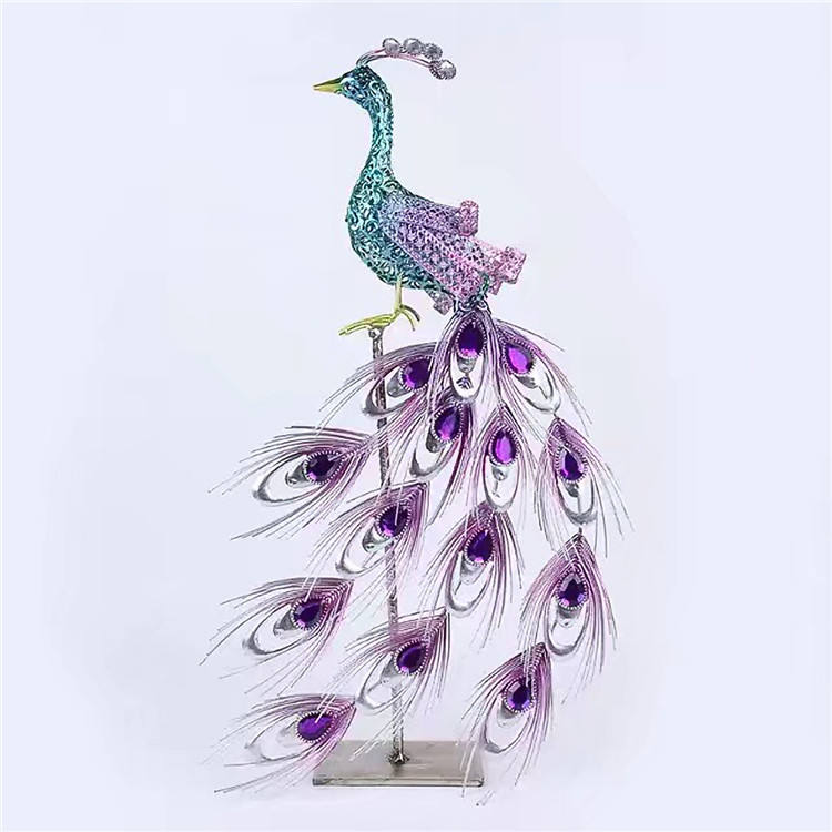 Custom Souvenirs Gifts Metal Animal Sculpture Iron Art Peacock Crafts