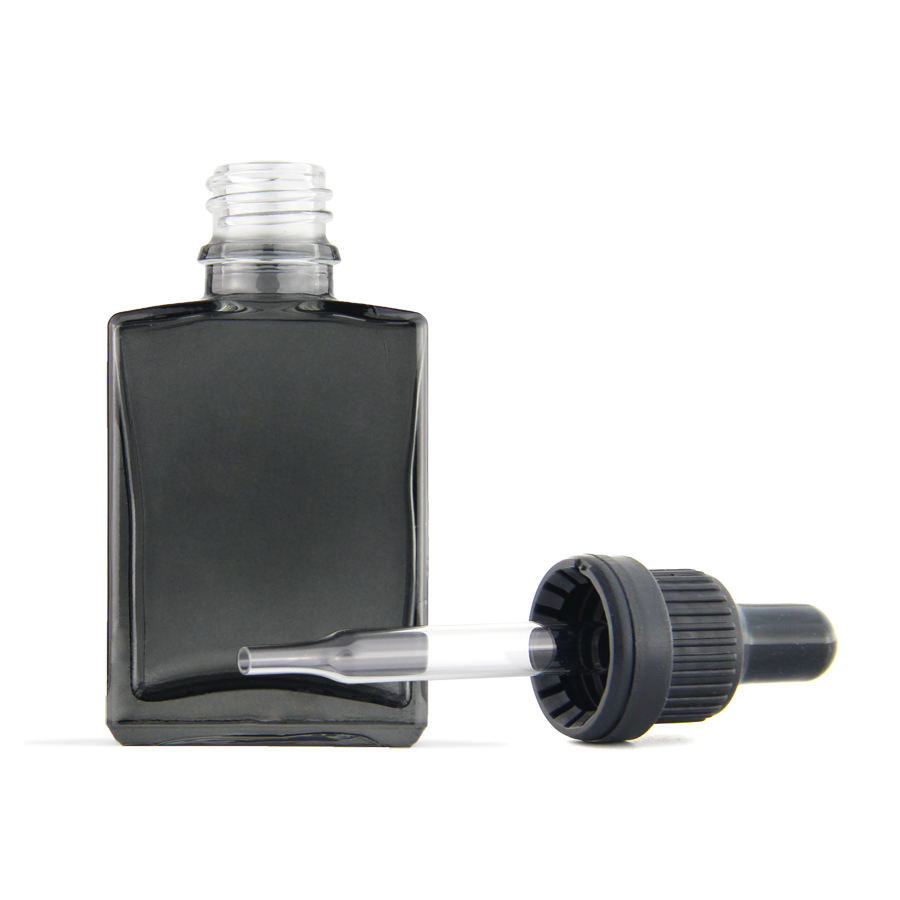 Rectangle square glass bottle 15 ml 30 ml dropper bottle glass e juice bottle with pipette