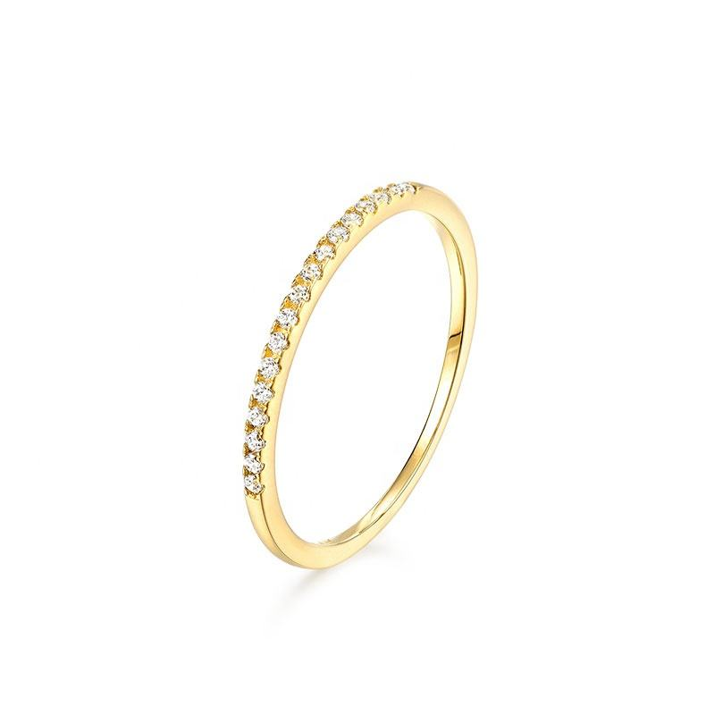 Stackable real 14K solid gold CZ pave diamond half eternity thin band ring