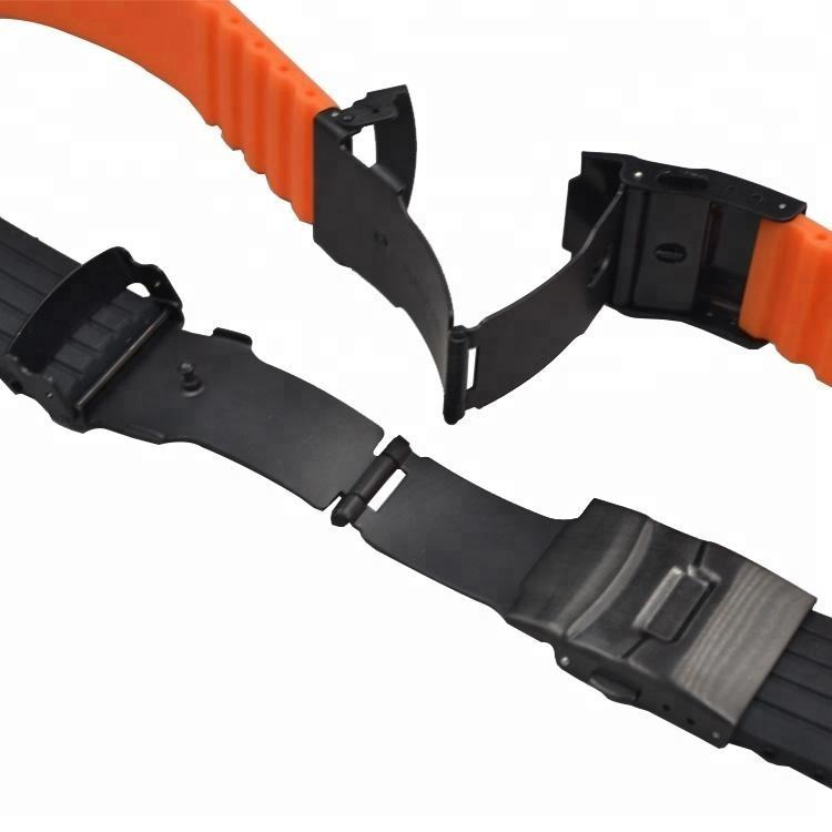 have stock stainless steel deployment buckle soft Black Blue Orange silicone rubber watch band strap
