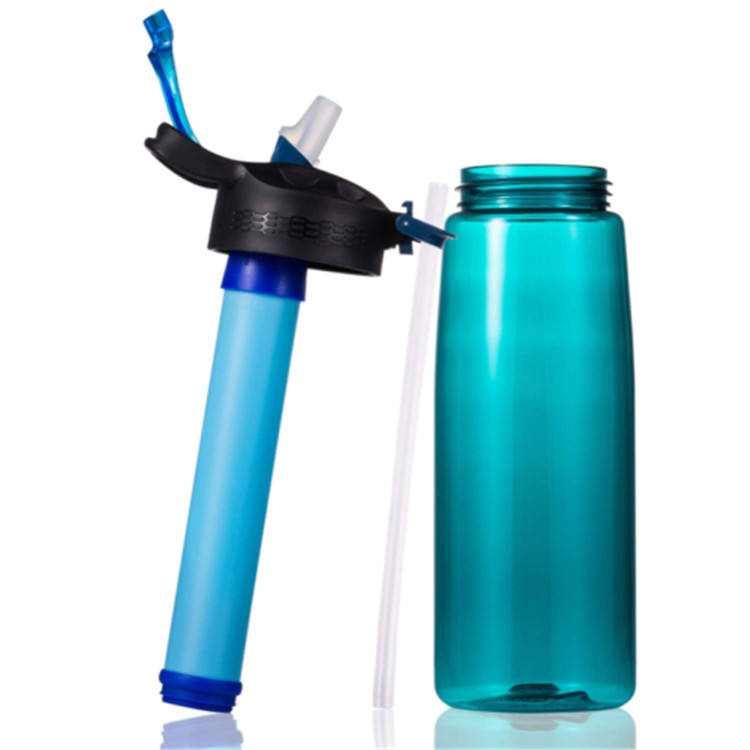 Portable personal water filter bottle water bottle with filter BPA Free with 4-Stage Intergrated Filter Straw