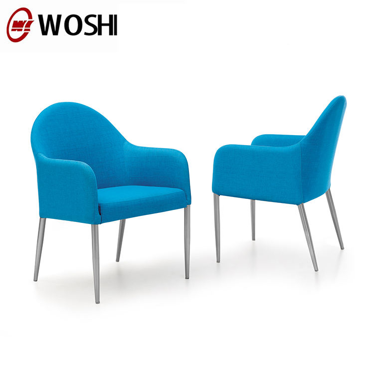 Blue comfortable low back dining chair
