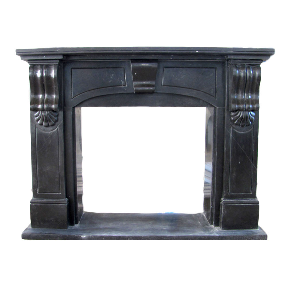 Modern Style Simple Marble Wood Fireplace Mantel For Sale