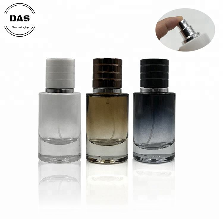 Refillable 30ml airless bottle glass perfume bottle with plastic cap