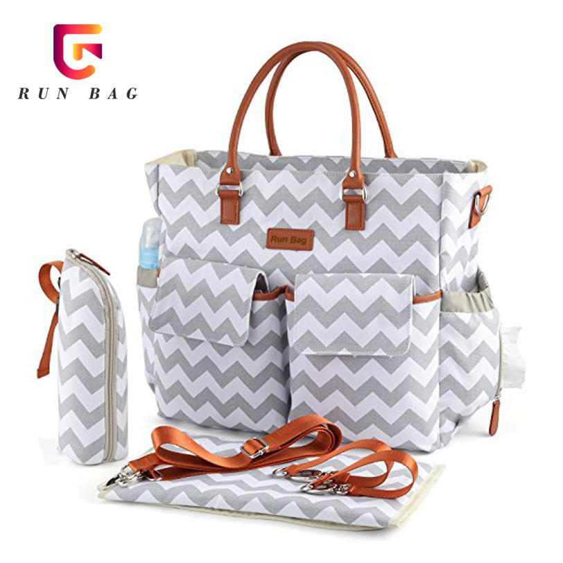 Multifunctional Grey Chevron Canvas Diaper Bags Baby Mummy Bag With Stroller Straps