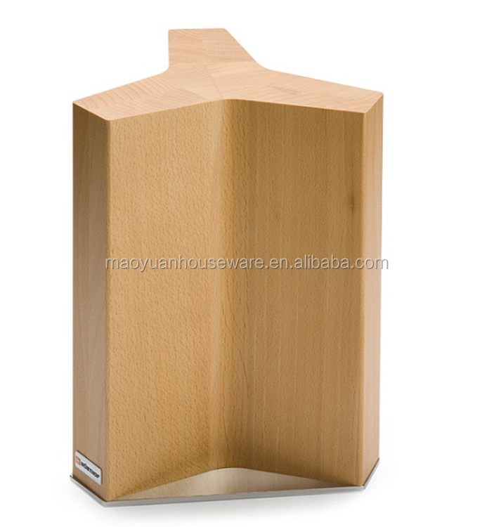 free standing magnetic knife display block in bamboo